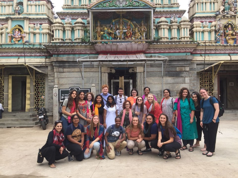 Stopping for a group shot while exploring the city of Bengaluru