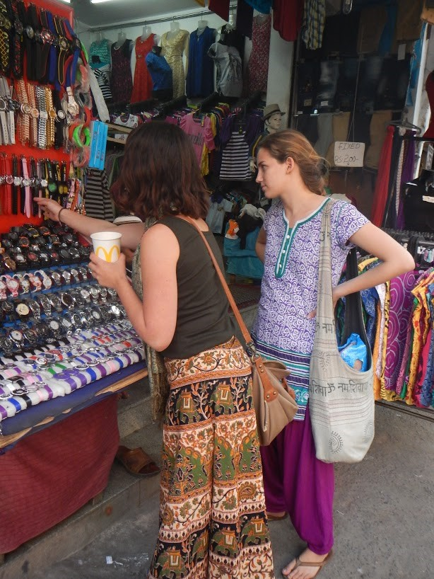 Students shop on Commercial Street in Bangalore