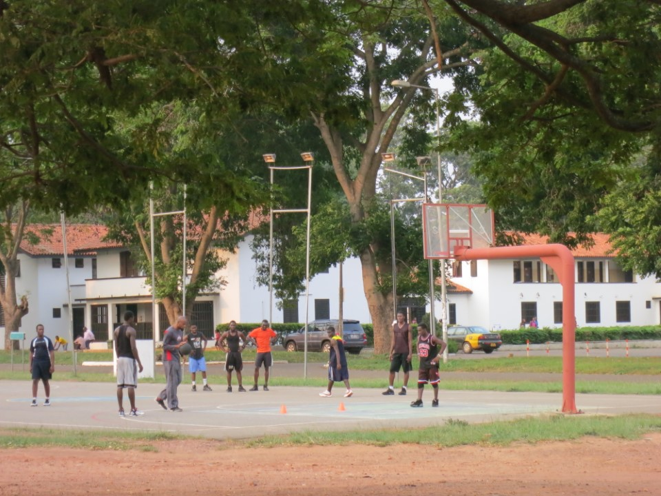Hop into a pick up basketball game with the local students