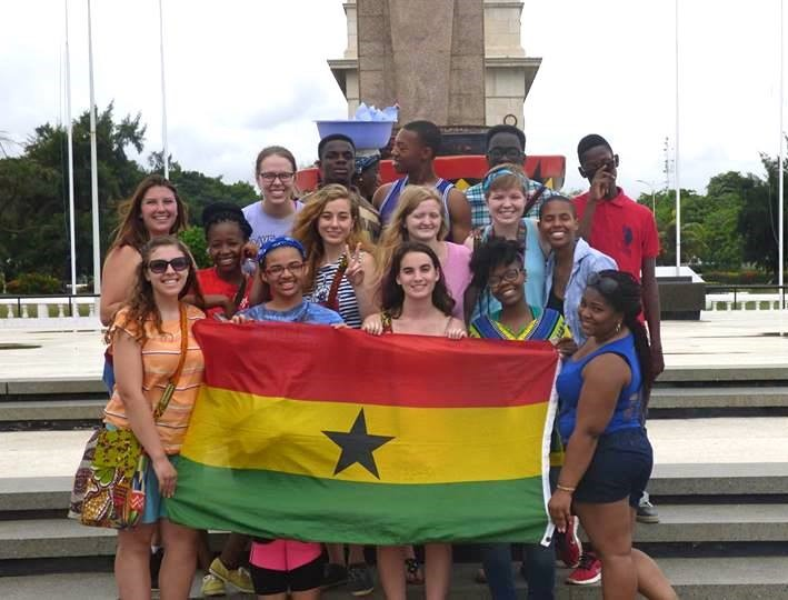 At the stadium in Accra with the Ghana flag