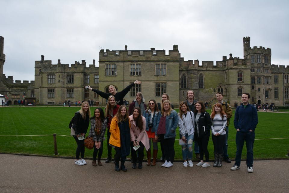 Students in front of the Warwick Castle