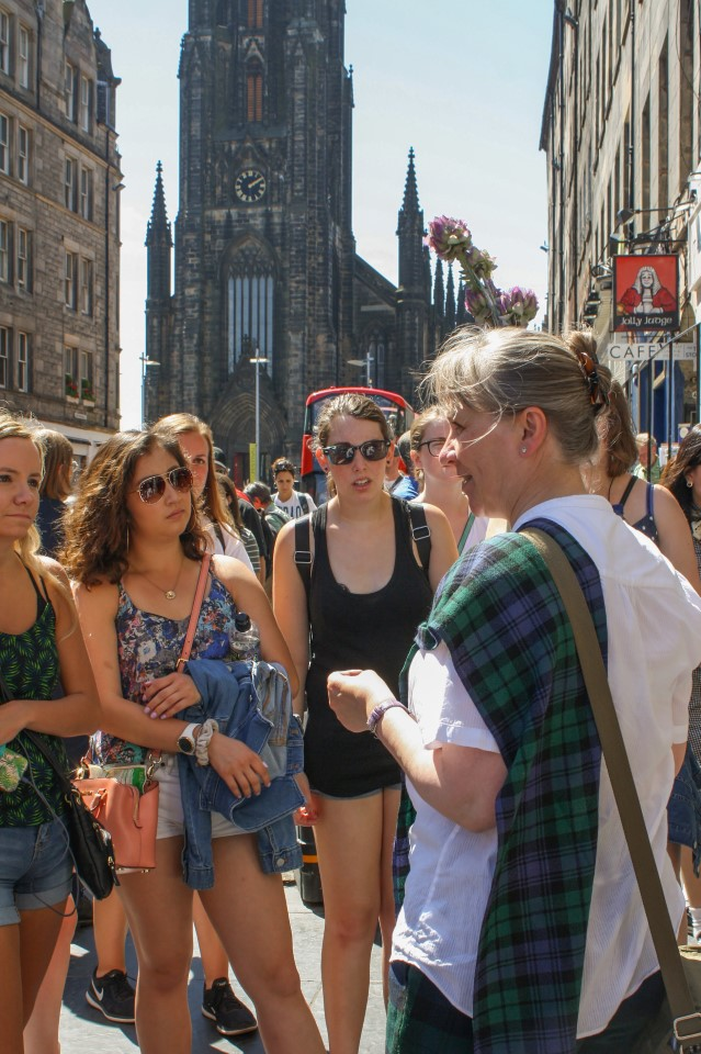 Students on the Royal Mile Tour