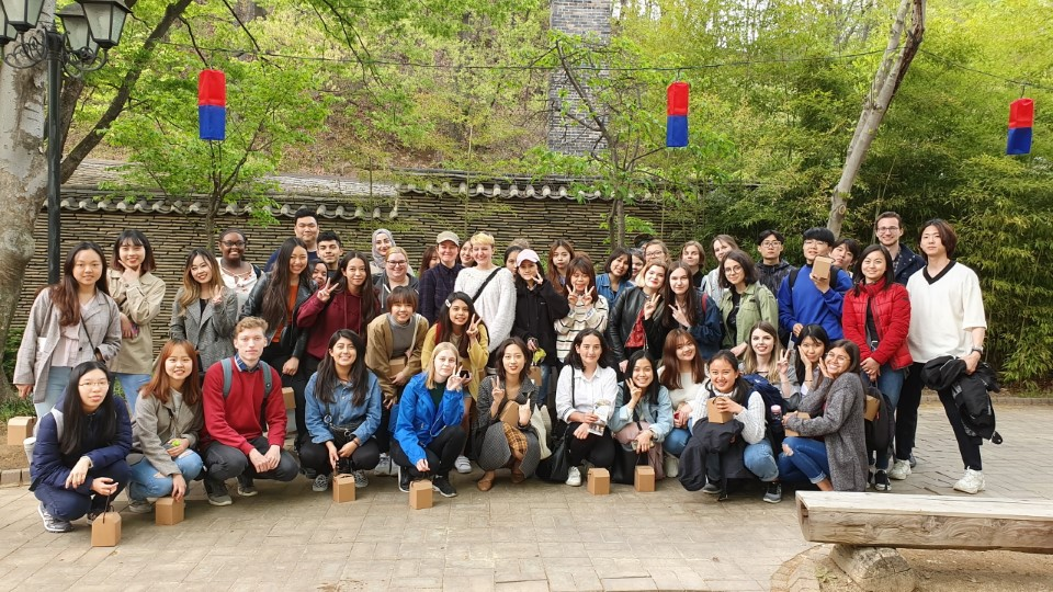 Students visit Folk Village, a living-museum village that showcases traditional Korean homes and customs