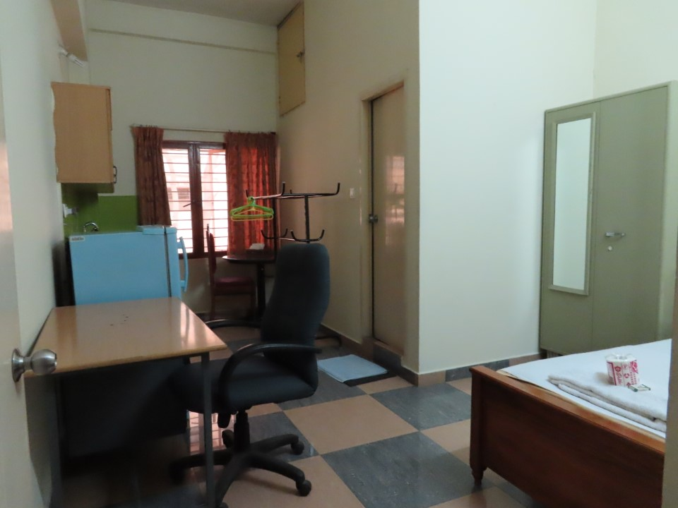 Every room in Jonas Hall comes with a small kitchen area, a desk, and bed