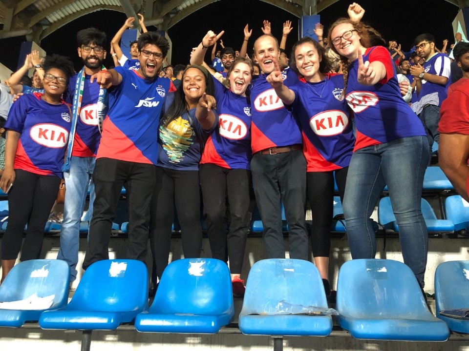 Students attend a local soccer game during a study abroad in Bengaluru