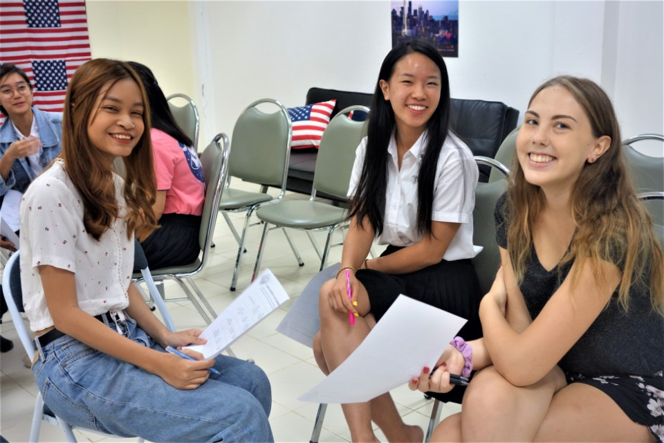 USAC students join local Thai students for the Conversation Club every week.JPG