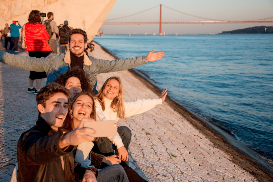 The 25 de Abril Bridge is a wonderful backdrop to your photos (and looks very similar San Francisco's iconic Golden Gate Bridge).