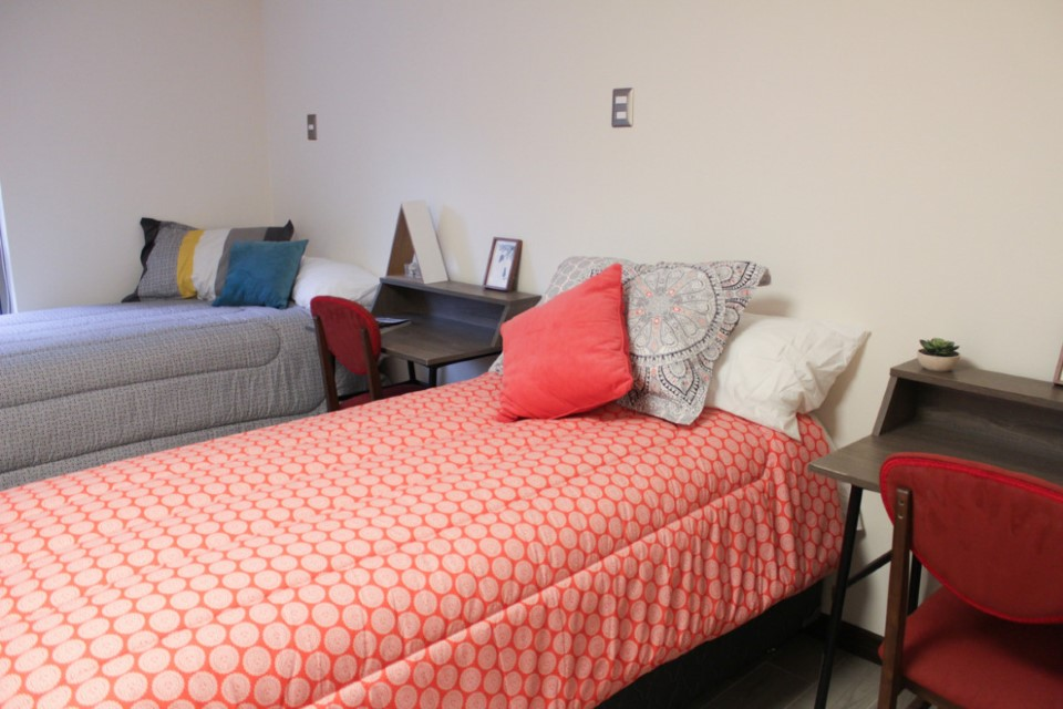 Double dorm room in Santiago's International Housing facility.