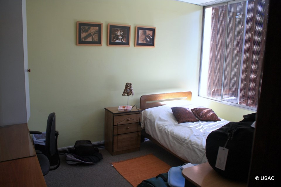 A homestay bedroom is a place to relax, do homework, and get a good night's rest.