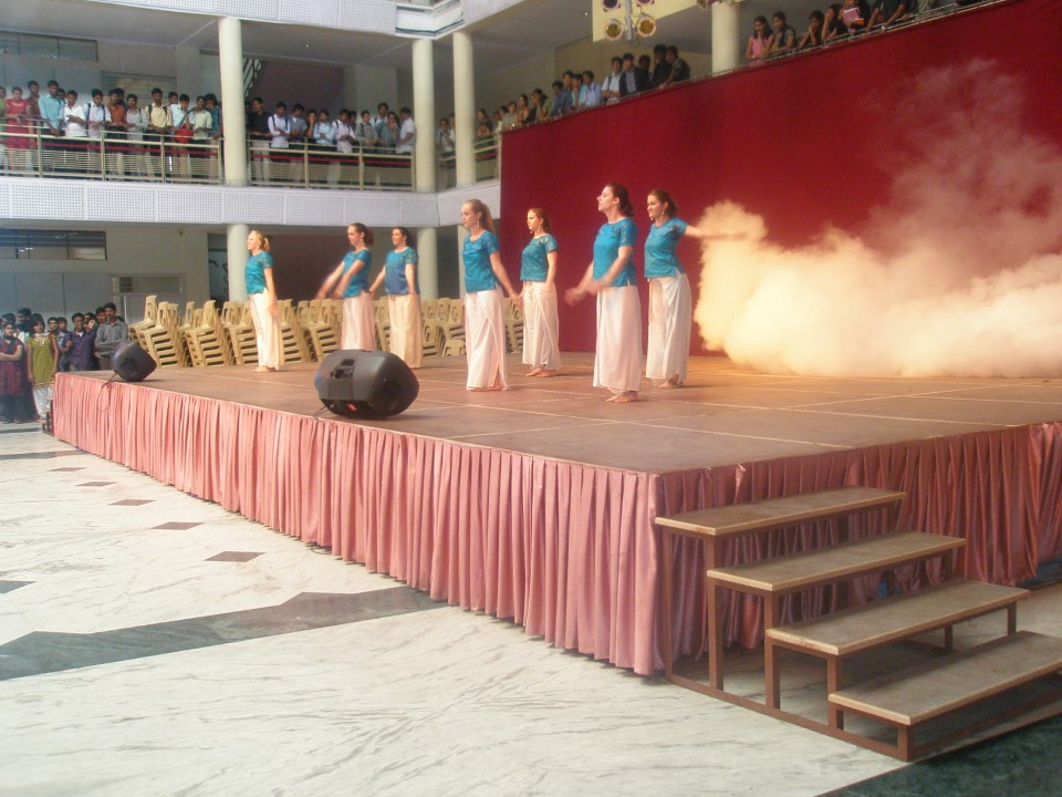 The girls step out of their comfort zone and give all they have as they perform an Indian dance.